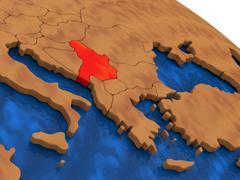 Serbia on wooden globe Stock Illustration