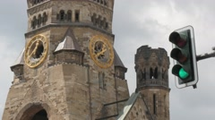 Real time locked down close up shot of Kaiser Wilhelm Memorial Church in Berlin. Stock Footage