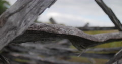 Civil War Time Split Rail Fence with Field Rack Focus Close Pan, 4K Stock Footage