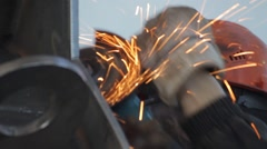 Grinding of welded joints Stock Footage