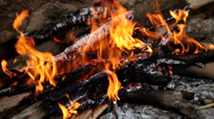 Fire for the preparation of the embers Stock Footage