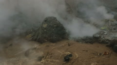 Boiling water in basin of active volcano Mutnovsky Stock Footage