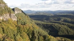View from the viewing point by the Pravcicka brana near Hrensko, Czech Republic Stock Footage