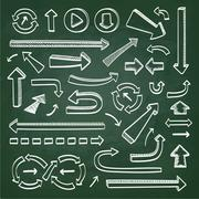 Arrows icons on chalkboard Stock Illustration
