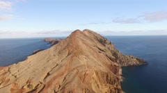 Flying above Sao Lourenco peninsula, Madeira, aerial view Stock Footage