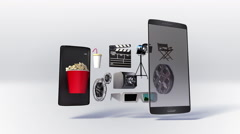 Divided smart phone, mobile, Explain various movie, drama, download internet. Stock Footage