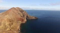 Flying above Sao Lourenco peninsula, Madeira, aerial view Stock Footage