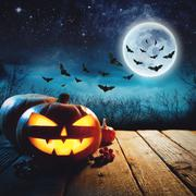 Halloween Pumpkin in a dark mist Forest. Elements of this image furnished by Stock Photos