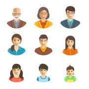 Asian family happy faces flat avatars set Stock Illustration