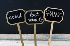 Business message AVOID LAST MINUTE PANIC Stock Photos
