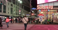 Street Activity at Night in Manhattan New York City 4K Stock Footage