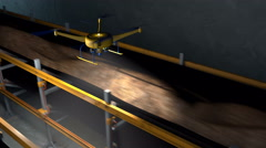 Drone inspecting a conveyor in a mine tunnel, 3D animation Stock Footage