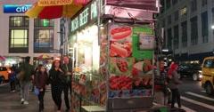 Food Cart in Midtown Manhattan New York City 4K Stock Footage