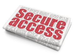 Protection concept: Secure Access on Newspaper background Stock Illustration