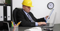 Engineer Working Day in Company Office Room Reading Report and Texting on Laptop Stock Footage