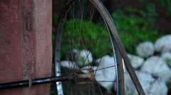 Electric pulley made from a bicycle wheel Stock Footage