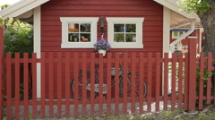 Wooden house in Sweden Stock Footage