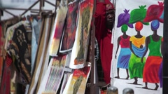 African artist at his art stall Stock Footage
