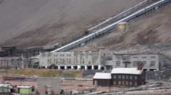 Abandoned coal-mining at Pyramiden settlement. Svalbard, Spitzbergen Stock Footage