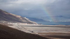 Pyramiden settlement and rainbow. Svalbard, Spitzbergen Stock Footage