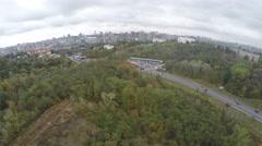 Flight over the autumn Kiev Stock Footage
