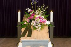 Coffin in morgue Stock Photos