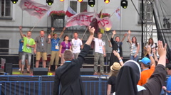 WYD Krakow 2016 - Group of people singing on stage in street, nuns Stock Footage