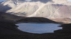 Lake and mountains near Pyramiden settlement. Svalbard, Spitzbergen Stock Footage