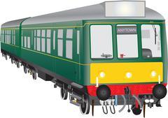 Veteran Diesel Train Stock Illustration