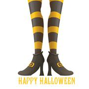 Vector witch legs halloween background Stock Illustration