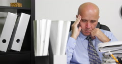 Pan View Accounting Department Tired Manager Work Many Files Late After Program Stock Footage