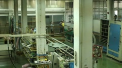 Workers Glass Factory Warehouse Industrial Plant Hoist Crane Stock Footage