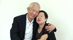 Asian senior couple helping each other Long lasting love, relationship goal Stock Footage
