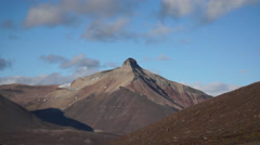 Pyramid mountain near Pyramiden settlement. Svalbard, Spitzbergen Stock Footage