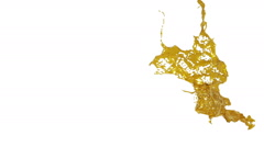 In slow motion yellow splash in the air. syrup Stock Footage