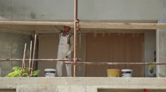Refining Construction Workers Building Contemporary House Company Stock Footage