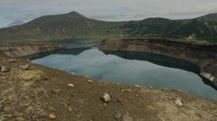Lake in the Caldera volcano Ksudach Stock Footage