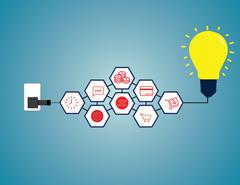 Online shopping innovation light bulb idea in flat style illustration Stock Illustration