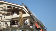 Construction Work Building Contemporary House Workers Company Stock Footage
