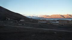 Pyramiden settlement panorama. Svalbard, Spitzbergen Stock Footage