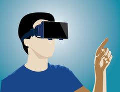 Virtual Reality headset on a man playing video games. Concept business illust Stock Illustration