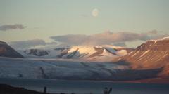 Glacier near Pyramiden settlement. Svalbard, Spitzbergen Stock Footage