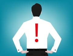 Rear view of  man  blue background. Concept business illustration. Vector fla Stock Illustration
