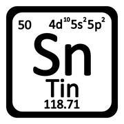 Periodic table element tin icon. Stock Illustration