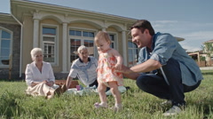 Cute Toddler Girl Playing with Father Stock Footage