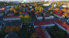 Wooden house suburb,Turku, 4K aerial Stock Footage