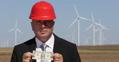 Wind Turbine Generators Company Manager Show One Dollar Banknote Economy Symbol Stock Footage