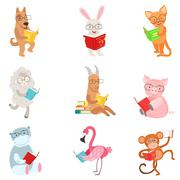 Funny Animal Characters Reading Books Set Stock Illustration