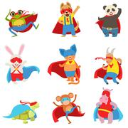 Animals Dressed As Superheroes With Capes And Masks Set Stock Illustration