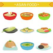 Asian Food Famous Dishes Illustration Set Stock Illustration